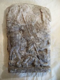Large marble relief - St George and the Dragon - southern Europe - presumably circa 1900