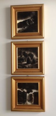 Three unknown artist - Tris of charcoal black tiles with carved gilt frame - Italy - signed V. Terzano - ca. 1970
