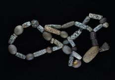 Ancient Gneiss Granite stone, Grey Agate beads necklace - 110 cm