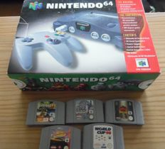 Complete boxed Nintendo-64 + Complete with 5 games body harvest, edge, v rally, lamborghini, world cup