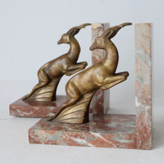 Designer unknown - Art Deco bookends with springbok