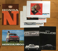 7 Honda car brochures from the 1960s and 1970s - N360, N400, N600 and Prelude