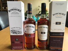 2 bottles - Bowmore 9 years old & Bowmore 18 years old