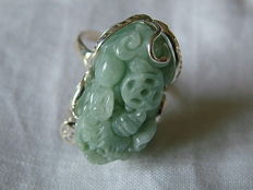 Large vintage silver ring with carved jade, from Burma