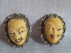 Pair of Ivory Japanese Masks  , Japan , 1900-1930