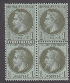 France 1860 - 1c olive block of four, MNC - Yvert no. 25