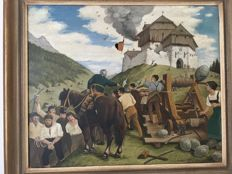 Austrian school - unknown artist signed J. Benker - die Revolte