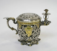 Partly gilded silver night lamp with engraved verb - C.C. D.B - London - 1813-14