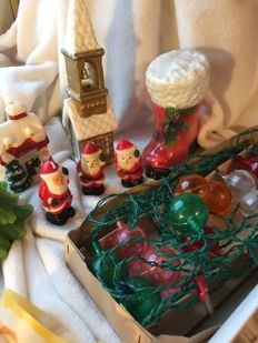 Large collection of vintage Christmas decorations, Christmas lights, Christmas candles
