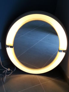 Allibert - mirror with lighting designer frame in oval plastic