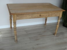 Antique softwood table, age and origin unknown.