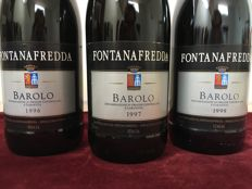 Vertical : 1996 Fontanafredda Barolo x 1 bottle - 1997 Fontanafredda Barolo x 1 bottle - 1998 Fontanafredda Barolo x 1 bottle - DOCG  / 3 bottles, 75 cl,