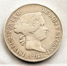 Spain - Isabel II - 10 silver reales - 1863 - Madrid