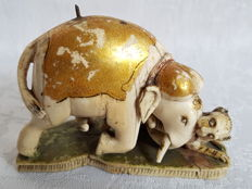 "Ivory polychromed and gilt craving "" Elephant attacked by tiger "" - India - ca. 1900"