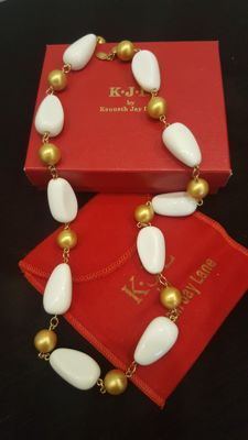 Signed Kenneth Jay Lane vintage gold-white tone Necklace 58,5cm