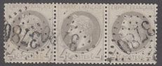 France 1860 - 4 c grey including strip of 3 - Yvert no. 27