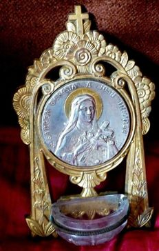 Antique bronze stoup with silver medallion of Saint Mary Teresa, France, 19th / 20th century