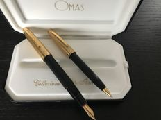 Omas S 2001. Fountain pen and Ballpoint pen. Colour Black and gold Mint condition.