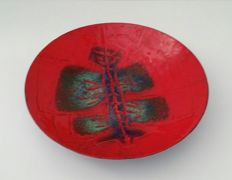Carla & Richard - modernistic enamel bowl with Cobra-like depiction.