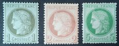 France 1872 - Cérès perforated, selection of 3 stamps, signed Roumet and Brun - Yvert n° 50, 51 and 53.