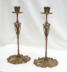 Georges De Feure - A pair of Art Nouveau candlesticks