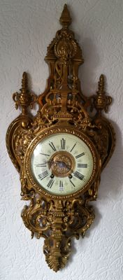 Ancient bronze French Cartel clock - around 1880