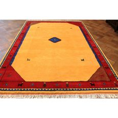 Handwoven carpet, Gabbeh, made by nomads, wool on wool, made in India, 300 x 205 cm
