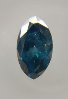 Marquise of 0.71 ct  deep blue greenish colour 'very very low reserve price'