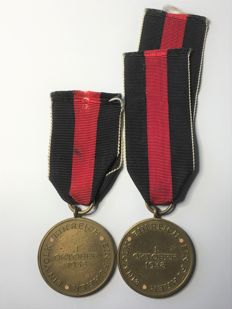 1933-1945 Third Reich 2 Medals Commemorating the 1st of October 1938