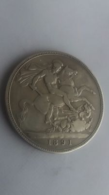 United Kingdom - Crown 1891 Victoria - silver