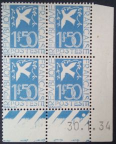 France 1934 - Peace dove, 1.50 franc navy blue, Block of 4, dated corner - Yvert no. 294