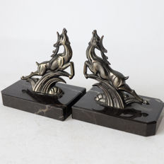 Designer unknown - set of Art Deco bookends with jumping deer