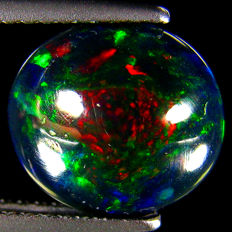 Black  Opal with Rainbow Flash  - 10.04 x 9.04 x 4.06 mm   - 1.72 Ct