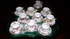 10 porcelain cups and saucers