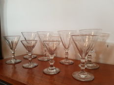 Eight crystal 'umbrella' wine glasses with knot, England or the Netherlands, 19th century