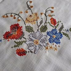 "Rough linen tea tablecloth with coloured hand embroidered flowers - ""No reserve price"""