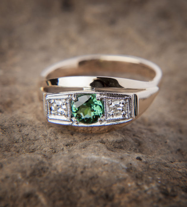 Authentic Tourmaline / Diamond Ring 14 K Ring - RS: 58; US: 8-8,5 / 18,5 mm∅