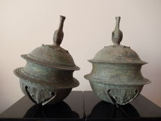 Matching Pair of Angkor Wat, Khmer Bronze Elephant Bells, 210 x 160mm (2)