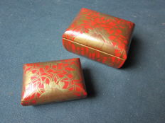Two Tebako gold lacquer boxes - Japan - approx. 1900 (Meiji Period)