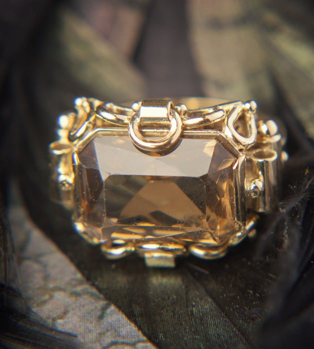 Unique Ring 585 Gold with 15 CT Smoke quartz RS 60-61 / 19,3 mm ∅ / US 9-9,5