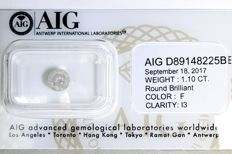AIG Sealed Diamond - 1.10 ct - F, I3 - * NO RESERVE PRICE *
