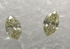 Pair of Marquise diamonds VVS2-SI1 'Very low reserve price'