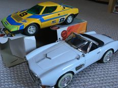 Joustra, France/Apple, China - l. max. 25 cm - Lancia Stratos and BMW 507 in sheet metal with friction motor, 70/90 years