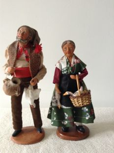 2 beautiful authentic Santons - Nativity scene figurines from the Provence - hand made