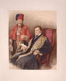 Sir David Wilkie ( British 1785 - 1841 ) Mr. Cartwright, British Consul-General at Constantinople, and Mustafa his Albanian Janissary