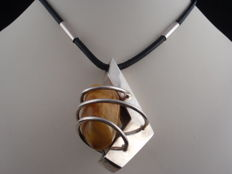 Vintage 70's Genuine Baltic Amber and  925 Sterling silver pendant 38 grams