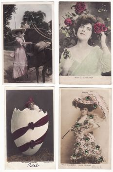 Special collection 78 very old English postcards of theatre actresses