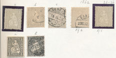 Switzerland 1862 - Sitting Helvetia, extensive collection