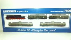 Fleischmann N - 7896 - 5-piece set with steam locomotive BR38 and 4 passenger carriages 1st/2nd class and baggage section of the DB