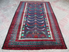 Semi Antique Genuine Hand Knotted Tribal Baluchi Rug  228 x 137 cm
